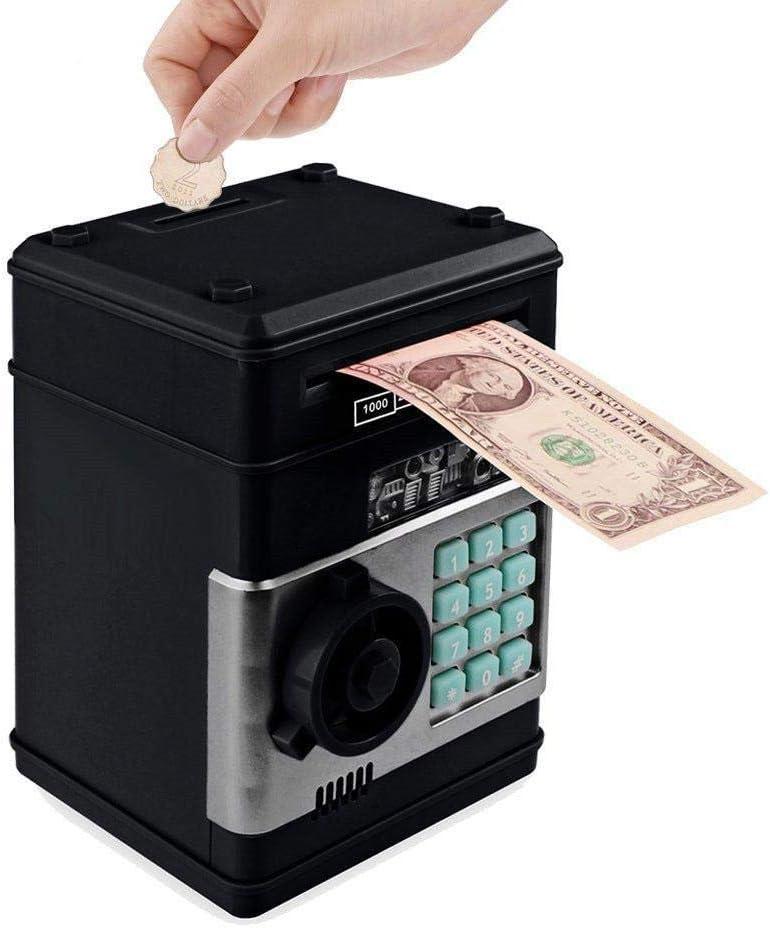 CUNQIKUN Hucha Electrónica Cajero Automático Contraseña Caja De Dinero Monedas En Efectivo Caja De Ahorro Cajero Automático Caja Fuerte Caja De Depósito Automático Billete De Banco: Amazon.es: Hogar