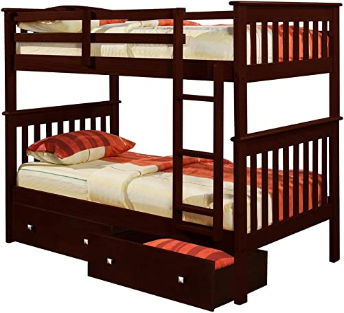 Donco Kids Mission Bunk Bed Dark Cappuccino/Twin/Twin/W/Dual Under Bed Drawer