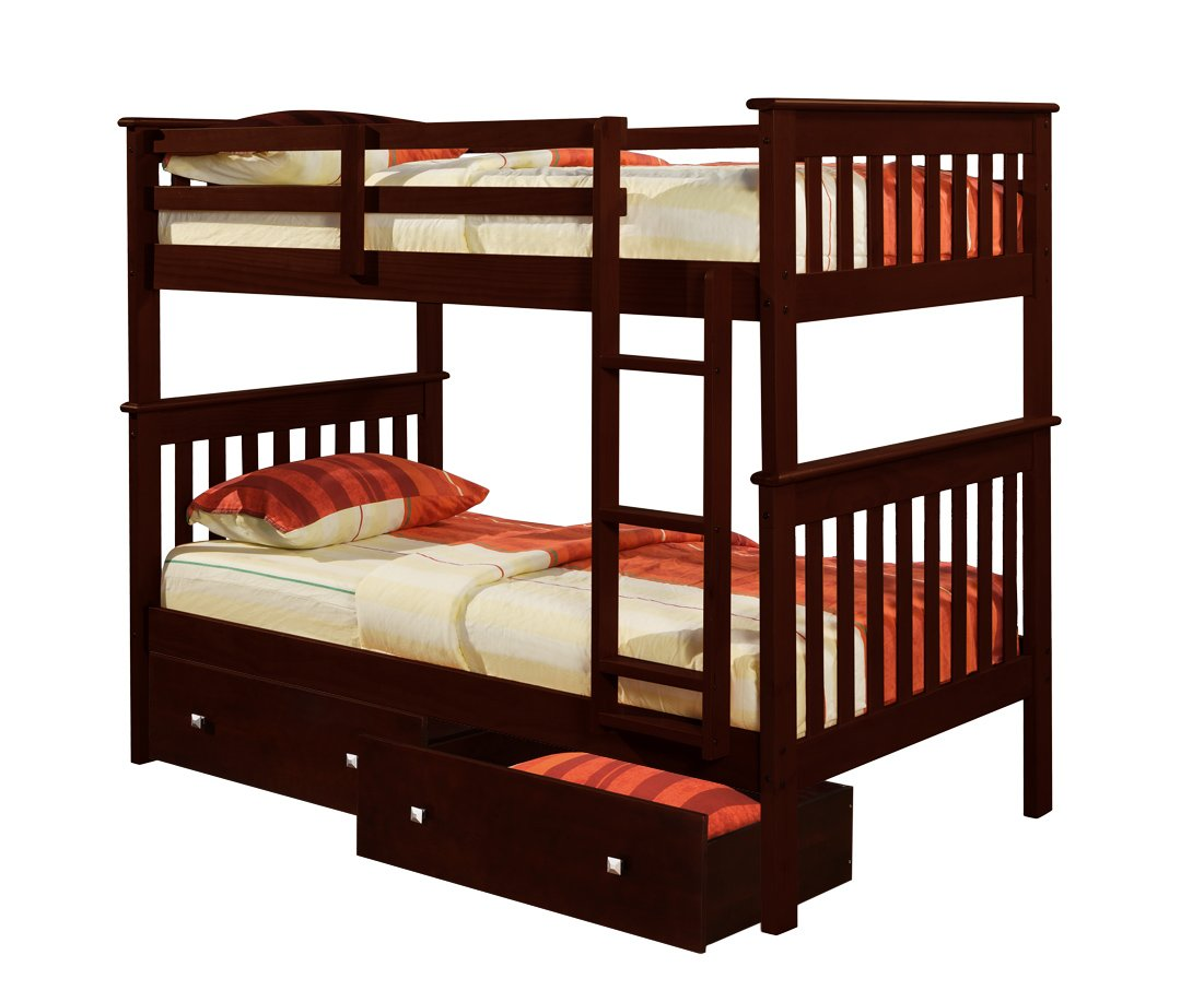 DONCO Bunk Bed Twin Over Twin Mission Style in Cappucino with Drawers