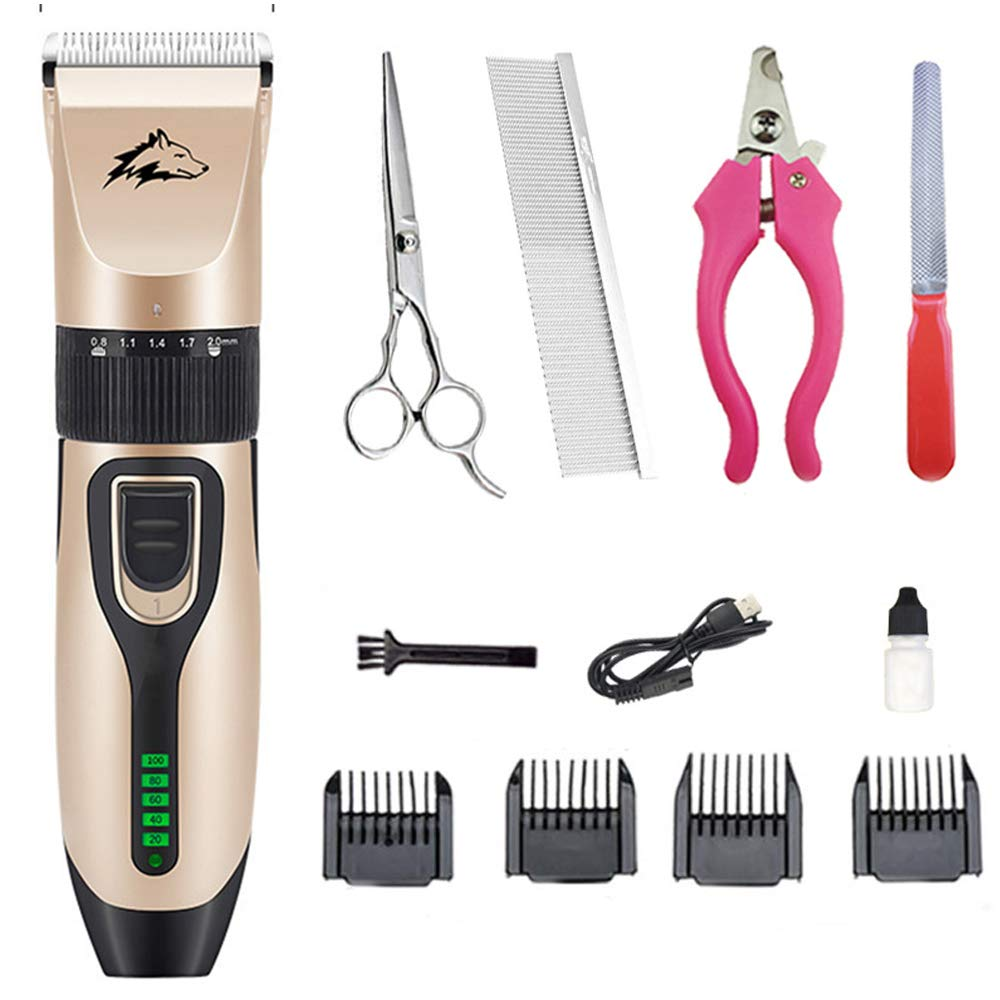 REIZYO Pet Grooming Clippers, Professional Rechargeable Cordless Low Noise Dog Shaver,Cats Hair Trimmer Electric Trimming Tools Detachable Safety Blade Kit,For Small Medium Large Dog Cats Animals