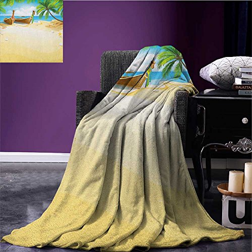 Beach park blanket Paradise Island Coconut Tree and Boats Tropical Coastline Relaxation Environment soft blanket Multicolor size:59