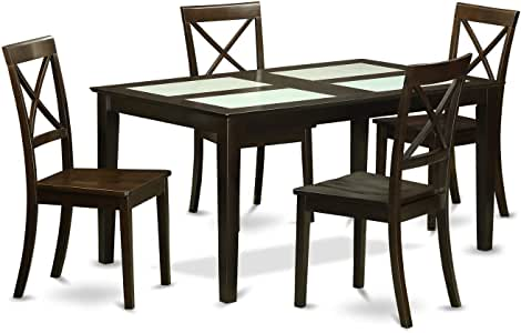 Amazon.com - East West Furniture Modern Black Finish Solid ...