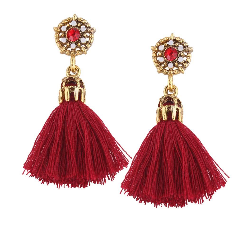 Elogoog Handcraft Gorgeous Long Tassel Drop Dangle Stud Earrings For Wedding Party Dance Jewelry (Red 5)