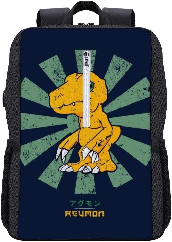 Agumon Retro Japanese Dig-imon Backpack Daypack Rucksack Laptop Shoulder Bag with USB Charging Port