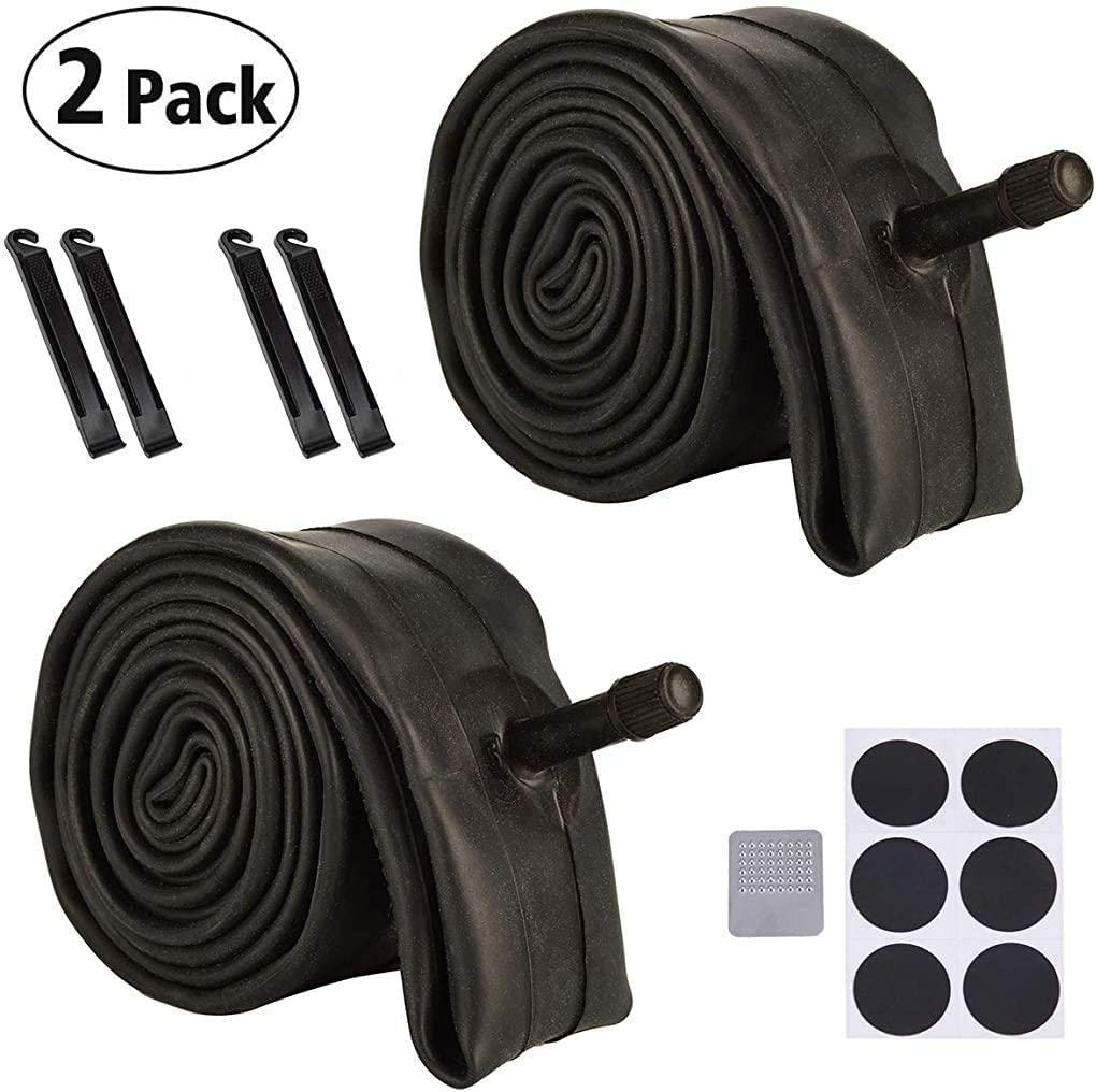 Huacheng 2 Pack Bike Tube with 4 Tire Levers, Bicycle Inner Tube Tyres Road MTB Bike Interior Tire Tube Anti Puncture Tube for Bike Bicycle Tire