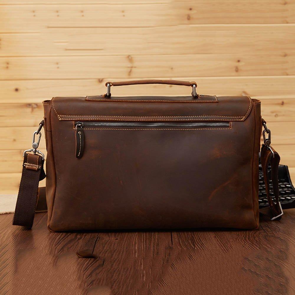 Amyannie Laptop Messenger Bag Mens Vintage Leather Briefcase for Business Tote Messenger Bag 15.6 inch Laptop Handbag (Color : Brown) by Amyannie (Image #4)