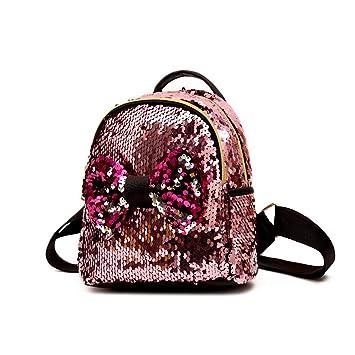 FENICAL Mochila de Lentejuelas Bowknot Lindo diseño para niñas Adolescente pequeña Mochila de Viaje Brillante (Rosa): Amazon.es: Equipaje