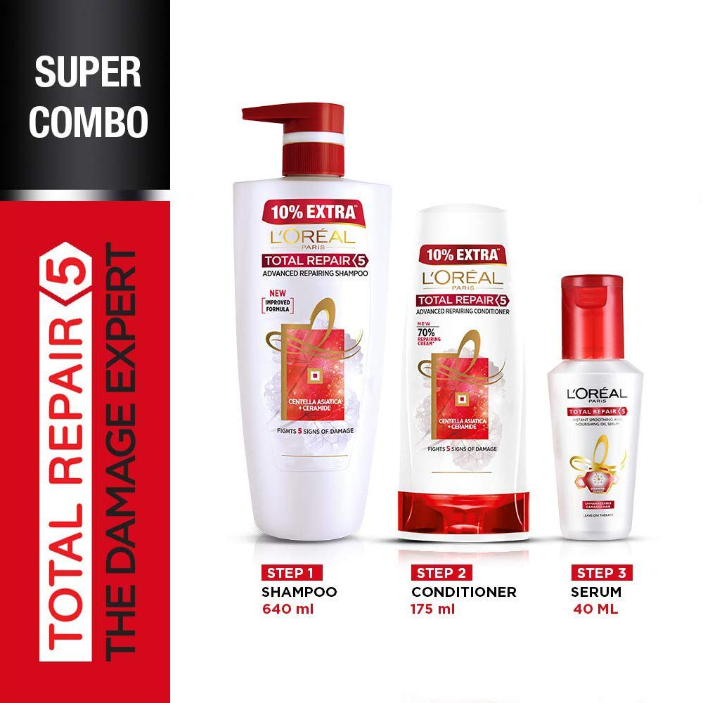 L'Oreal Paris Total Repair 5 Shampoo 640ml Combo with Conditioner, 175ml + Serum, 40ml FREE