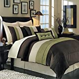 Sheetsnthings 12 PC Full Size Sage Hudson Bed in a Bag including: Comforter set and a Sheet set.