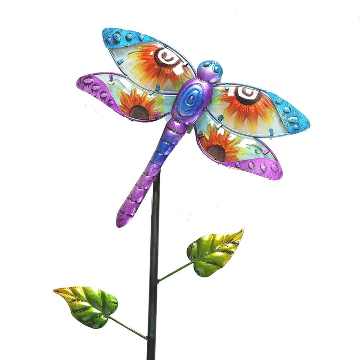 CEDAR HOME Solar Garden Stake Outdoor Figurine LED Light Cute Metal Stick Art Ornament Decor for Lawn Yard Patio, 11'' W x 2'' D x 52'' H, Dragonfly by CEDAR HOME