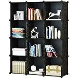 12-Cube Modular DIY Storage Cube Organizer by KOUSI 4 tier Shelving Bookcase Cabinet Closet Black