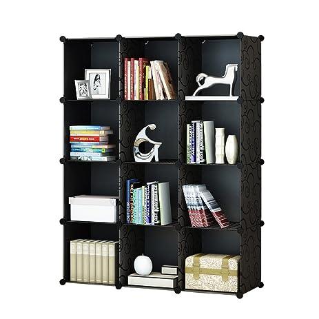 KOUSI 4 Tier Storage Cube Closet Organizer Shelf 12 Cube Cabinet Bookcase  Without Doors