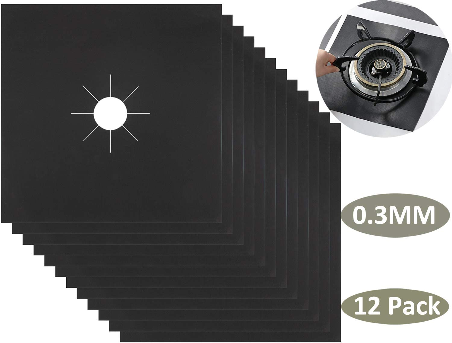 """Nicunom 12 Pack Stove Burner Covers, 0.3 MM Double Thickness Gas Stove Protectors, Reusable Non-Stick Gas Stove Burner Liners for Kitchen Cooking, Easy to Clean Heat Resistant,10.6"""" x 10.6"""", Black"""