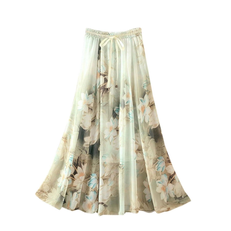 Ezcosplay Women's Bohemian Chiffon Floral Print Elastic Waist A-Line Maxi Skirt