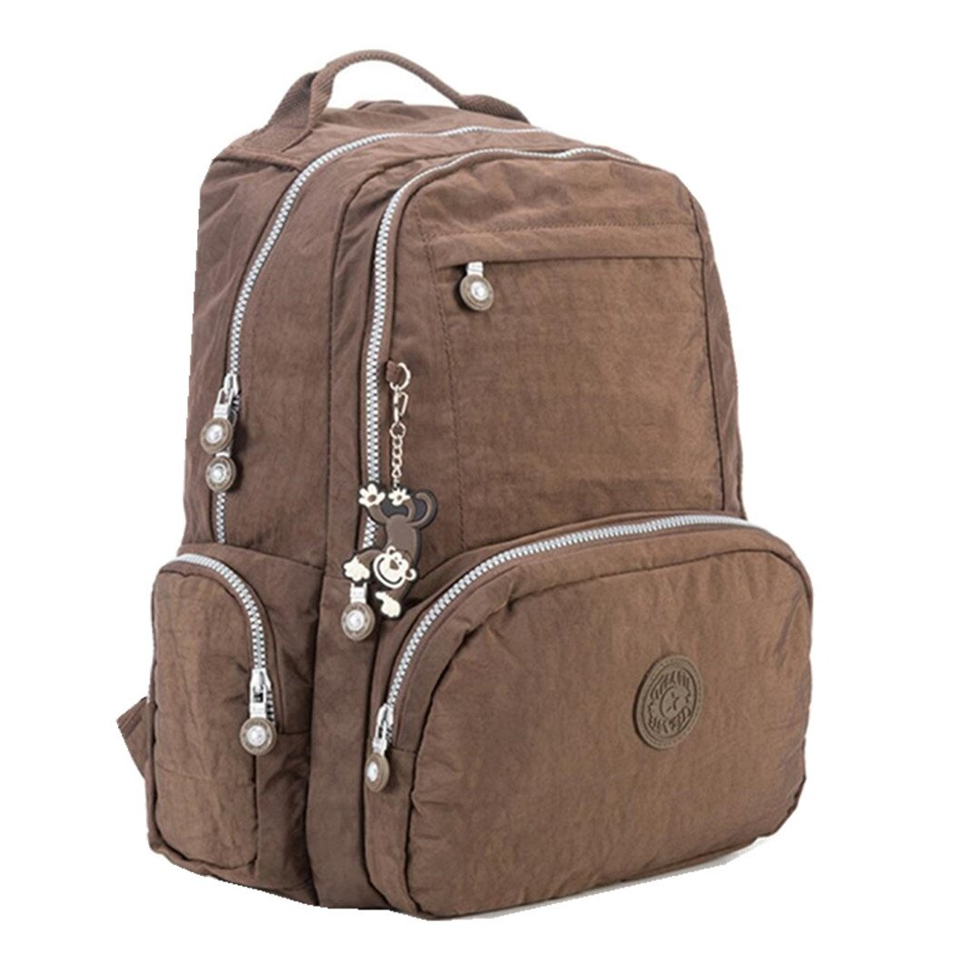 15 Inch Laptop Backpack Purse Thickened Nylon Casual Travel Daypack Water Resistant Shoulder Rucksack Womens SchoolBag with Cute Monkey Pendant (Brown)