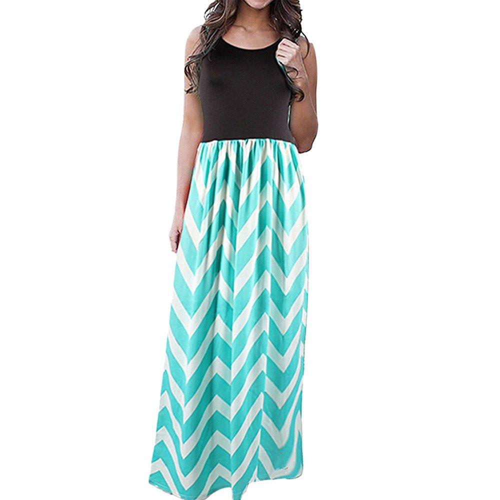 iZHH Womens Dress Striped Long Boho Dress Lady Beach Summer Patchwork Maxi Dress Plus Size Green