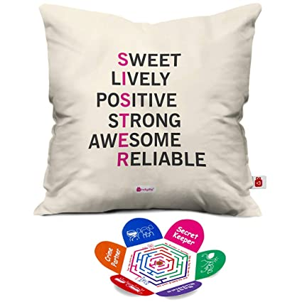 Indigifts Rakshabandhan Gifts For Sister Meaning Of Quote White Cushion Cover 18x18 Inches