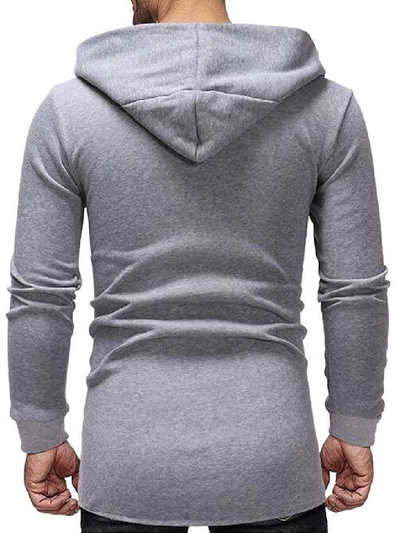 XTX Men Regular Fit Letter Printing Hooded Sweatshirt Casual Cardigan Coat