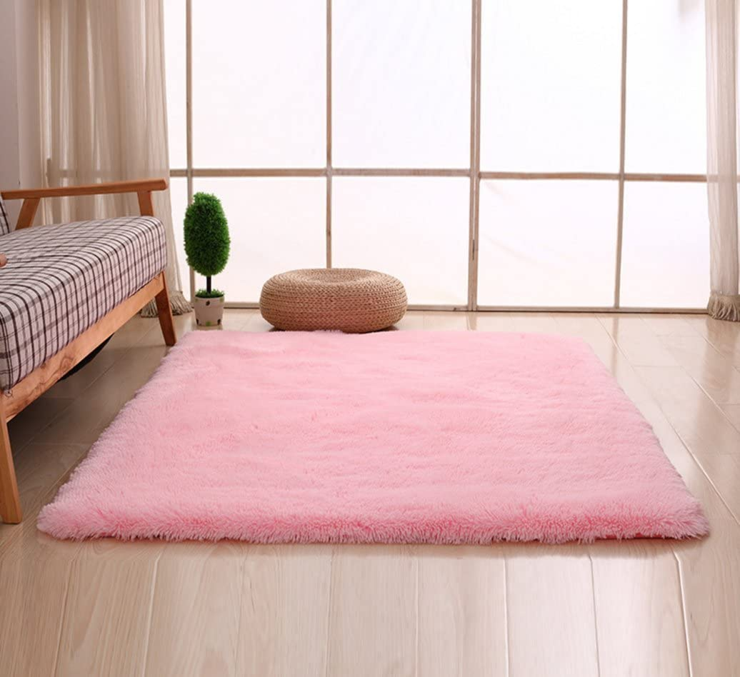 Bnxbb Ultra Soft 4Cm Thick Indoor Fluffy Thick Indoor Area Rug for Home Decor Living Room Bedroom Kitchen Dormitory Rectangle,Size:24 x 47 Inch (60Cm X 120Cm) Pink