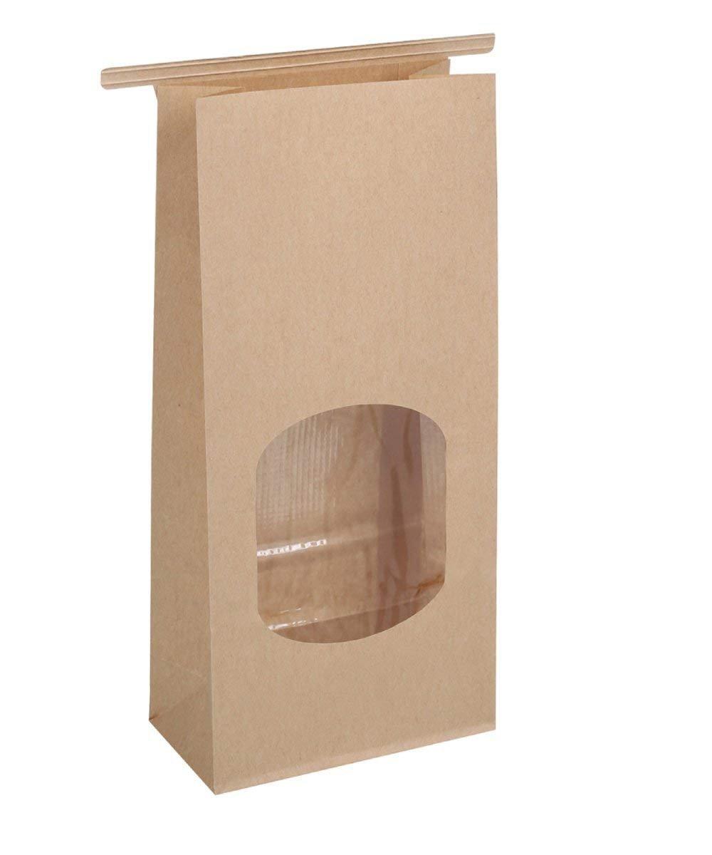 BagDream Bakery Bags Waxed Kraft Paper Bags 100pcs 4.5x2.36x9.6'' Tin Tie Tab Lock Bags Brown