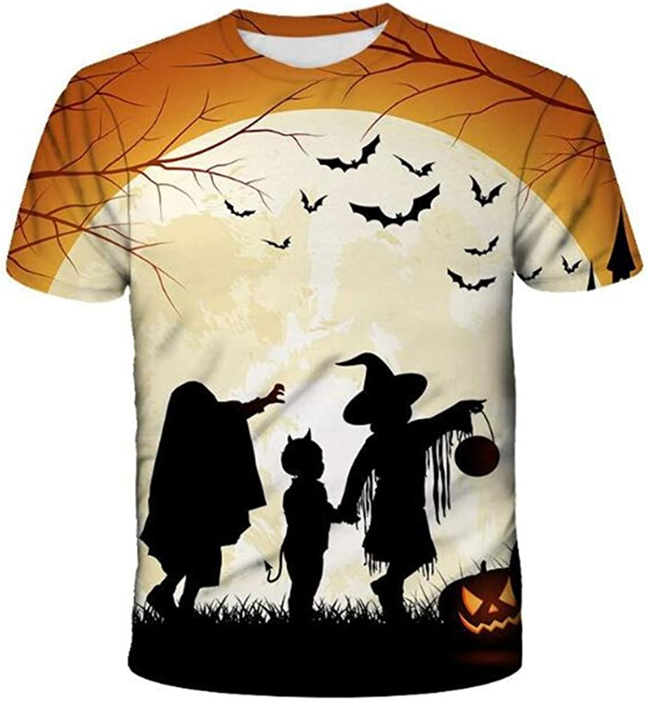 Camiseta De Manga Corta Fina De Verano con Cuello Redondo Flojo De Halloween con Estampado 3D para Hombre: Amazon.es: Ropa y accesorios