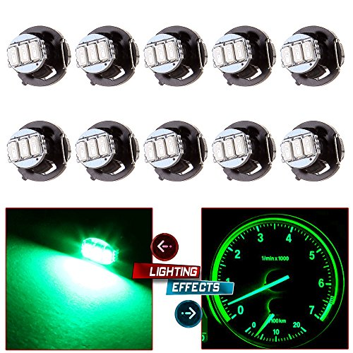 CCIYU 10 Pack T4.2/T4 Green 3014SMD 3LED Neo Wedge LED Light For 2002 Jeep HVAC Climate Control (Jeep Climate Control)