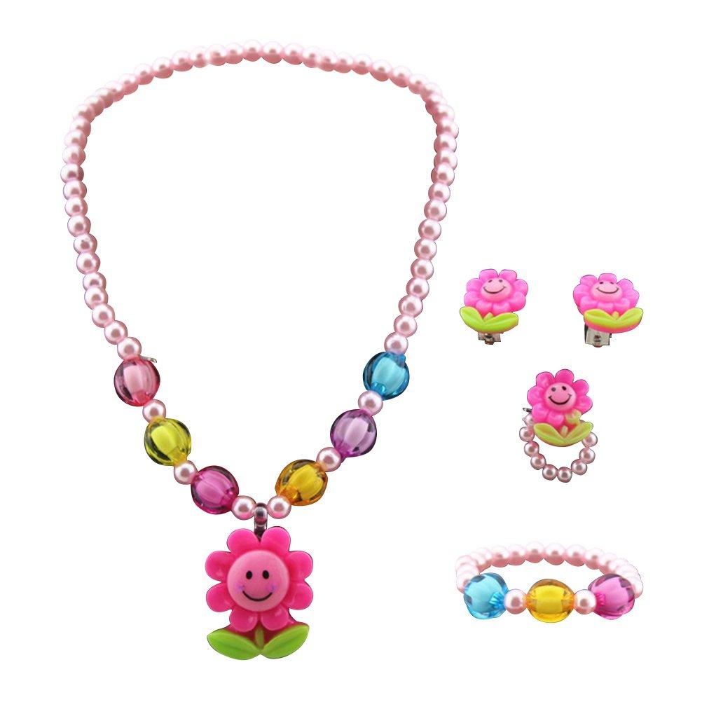 LUOEM Kinder Halskette Set Kinder Schmuck Sonnenblume Halskette Armband Ring Ohrring Set Kunststoff Schmuck für Kinder Foto Requisiten Party Dress Up 4ST