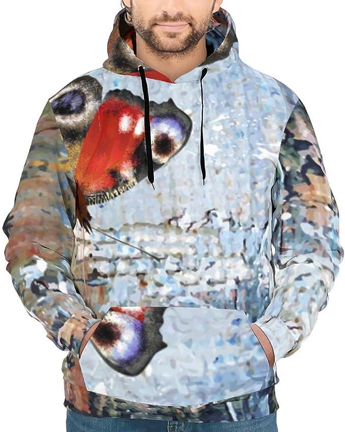 Landpowers Loose Pullover Fleece Sweatshirt Long Sleeve Front Pocket Hoodie for Mens white14 5XL