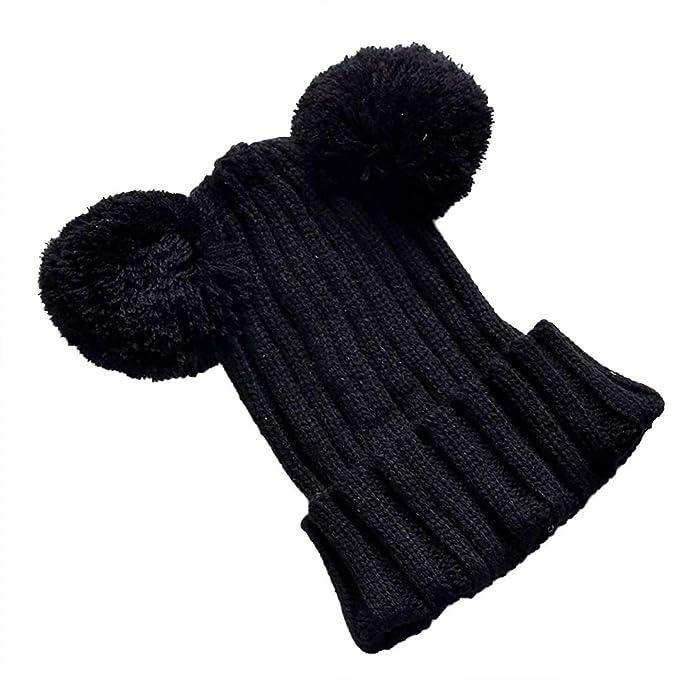 Xiton Xiton 1 Stück Strickmütze Warme Doppel Wolle Ball Häkeln Kappe
