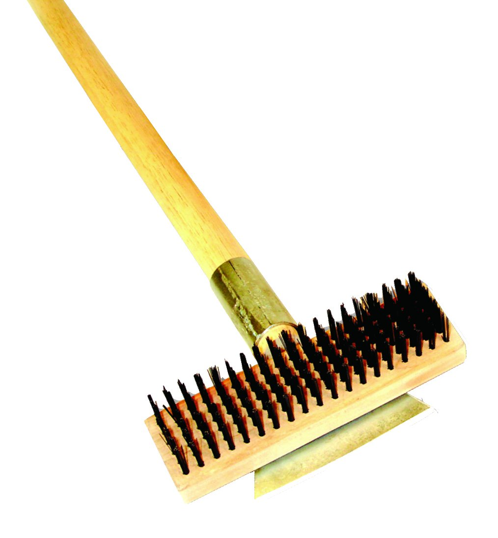 Excellante Heavy Duty Wire Brush with Scraper and Long Wood Handle, 27''