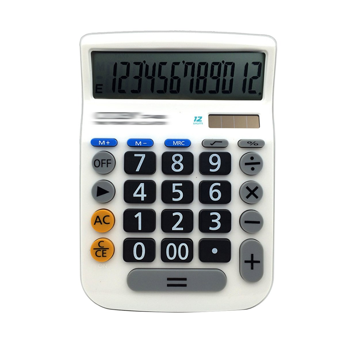 Sherry Calculator, Electronic Desktop Calculator Solar Battery Calculator with Large LCD Display Office Calculator (White)