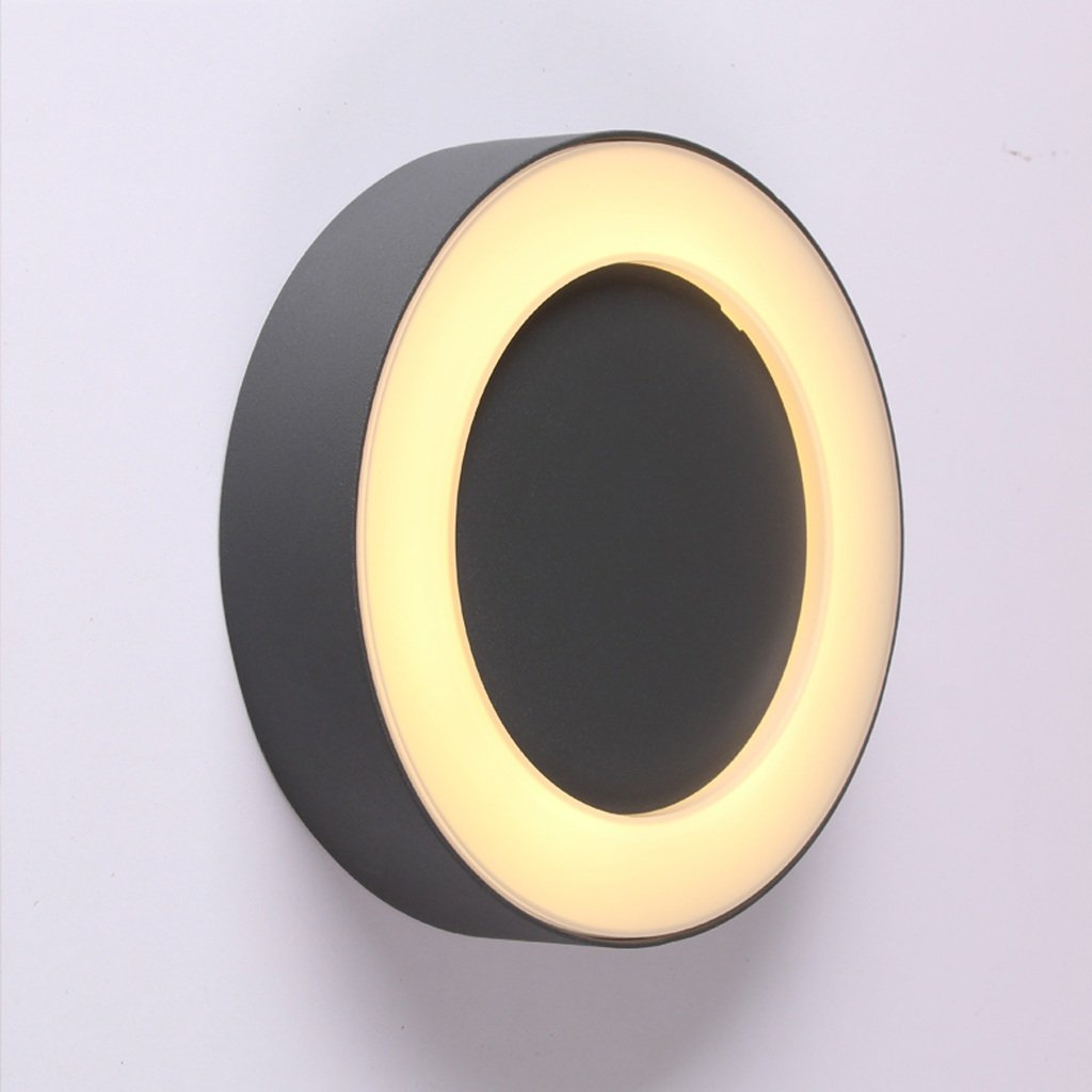 KLSDJ クリエイティブなパーソナリティ屋外防水湿度LEDウォールランプモダンなミニマリストバルコニーリビングルームバスルームの中庭の研究アクリルウォールライト12W暖かい光   B07T3X9Y4X