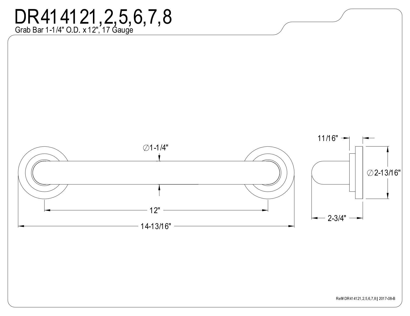 Kingston Brass DR414125 Designer Trimscape Manhattan Decor 12-Inch Grab Bar with 1.25-Inch Outer Diameter, Oil Rubbed Bronze
