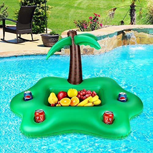LINGSFIRE 부동을 마시 홀더 팽창식 코코넛 나무 수영장이 마시 홀더는 수레 큰 용량 수영장 부 냉각 4 개의 구멍을 가진 및 사각형 격판덮개를 위한 수영장 파티 해변 수영장 장식