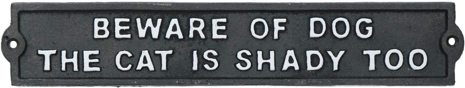 AB Tools Beware of Dog/Shady Cat Cast Iron Sign Plaque Door Wall House Gate Garden