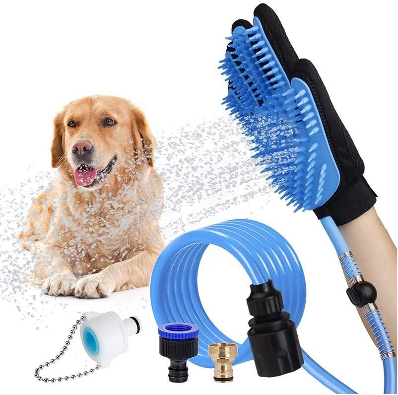Langroup Dog Bathing Tool Pet Grooming Glove Pet Hair Remover Outdoor Dog Shower Sprayer with Massaging&Grooming Glove, 3 Faucet Adapters to 98.5 inches Garden Hose, for Dog Cat Outdoor&Indoor Use