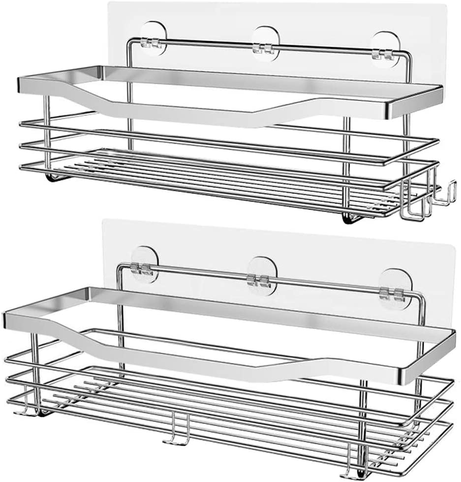 Orimade Adhesive Shower Caddy Shelf with 5 Hooks Organizer Storage Rack Wall Mounted Stainless Steel No Drilling for Bathroom, Toilet, Kitchen, Laundry - 2 Pack