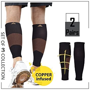 cde880c3b5 2Pairs Calf Compression Sleeve Copper Compression Calf Sleeve for Women &  Men - Support Plantar Fasciitis