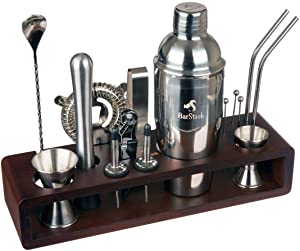 BarStash Bartender Kit: 17-Pieces Tool Set with Bamboo Stand - Perfect Bar Cocktail Shaker Set - Barware Set with Stainless Steel Straws for a Great Drink Mixing Experience, Recipe E-book included