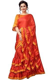 96e05ae72765bc AnK Women s Pattern ruffle Silk Saree With Blouse (Firozi Pink ...
