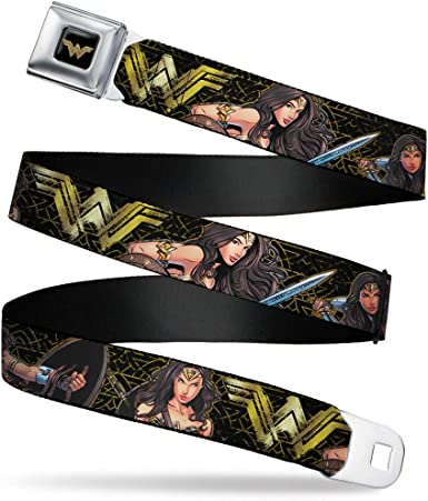 icon red//Golds Buckle-Down Mens Seatbelt Belt Wonder Woman Kids 1.0 Wide-20-36 Inches