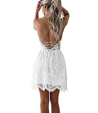 e27c36315 Amazon.com: Mansy Women's Summer Backless Skater Lace Dress Spaghetti Strap  Short Beach Vacation Dresses: Clothing