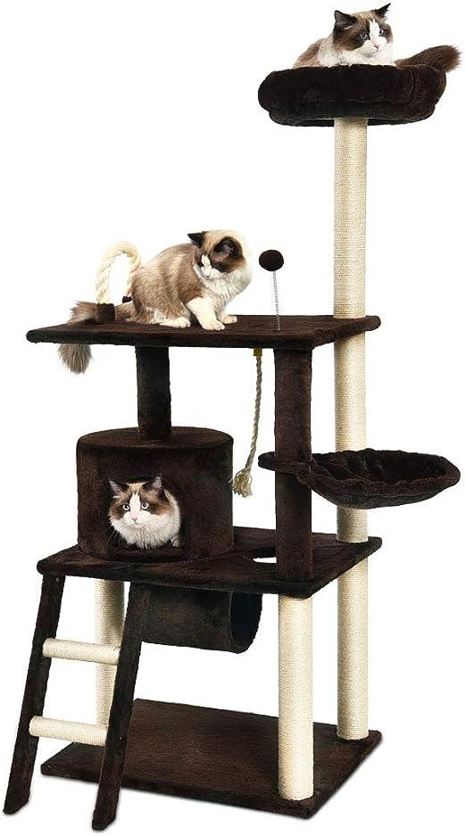 AmazonBasics - Árbol con varios niveles, cerramiento, túnel y plataforma para gatos, 61x152,5x48,3 cm, marrón oscuro: Amazon.es: Productos para mascotas