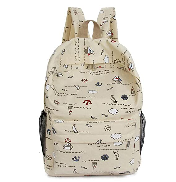 1eba0d2c9c YONGER Canvas Big Capacity Back Pack Cute Girls Book Bag School Backpacks  Beige