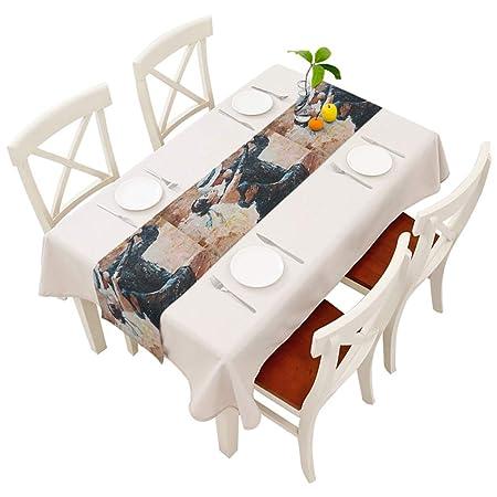 Camino de mesa de color naranja con estampado de hojas de frutas ...