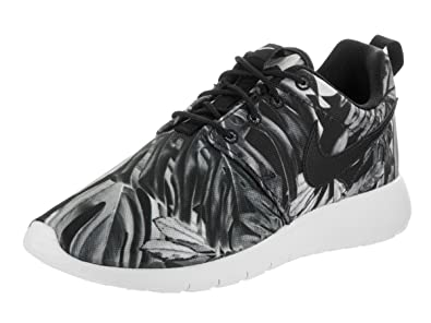 los angeles 774fd f518e NIKE Kids Roshe One Print (GS) Wolf GreyBlack Black White Running Shoe