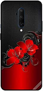 For For OnePlus 7T Pro Case Cover Red Flowers Pattern