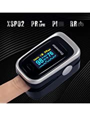 Oxímetro de Pulso, Pulsioxímetro de Dedo Digital Portátil con Pantalla OLED, 4 en 1 Monitor de Frecuencia Respiratoria y Saturación Oxígeno en Sangre Aprobado por la FDA para el Hogar, Fitness y Deporte Extremo