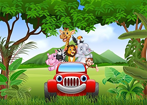 Leowefowa 6X5FT Safari Party Backdrop Animals World Tourism by Red Car Cartoon Backdrops for Photography Kids Birthday Wallpaper Polyester Photo Background Boys Girls Studio Props
