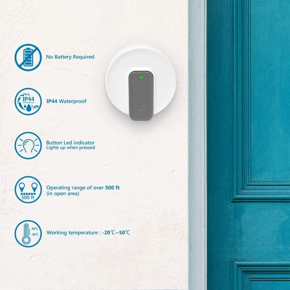 sin bater/ía Blanco 1 grabaci/ón espec/ífica para el cliente y 8 tonos de timbre est/ándar Timbre de puerta con MP3 inal/ámbrico alcance de 500 pies exterior resistente al agua